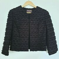 Phase Eight Black Cropped Jacket 3/4 Sleeve Textured Evening Party Sequin UK 8
