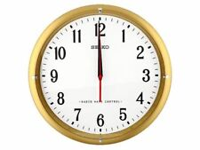 Seiko Bezel Quartz Battery Operated Radio Controlled Wall Clock - Gold / White
