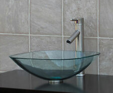 Bathroom Glass Vessel Vanity Sink Nickel Faucet TS12L1