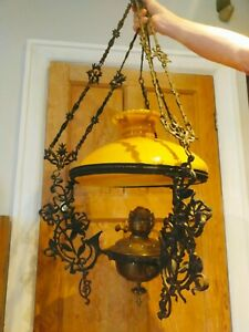 Victorian wrought iron hanging ceiling light - some fettling up required