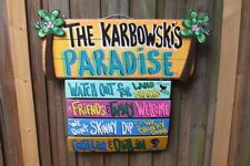 PERSONIZED PARADISE WELCOME TROPICAL BAR HAND MADE SIGN  PLAQUE