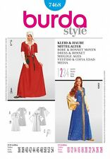 BURDA SEWING PATTERN 7468 MISSES MEDIEVAL DRESS & BONNET COSTUMES 10-28