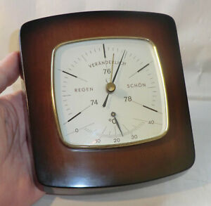 WETTERSTATION 1960er Lufft 563/2 BAROMETER 74 - 78 HOLZ Thermometer 0 bis +40 C.