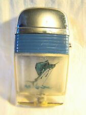 Nice Vintage Scripto Vu Lighter Sail Fish On Line Blue Band Sparking Well Rare
