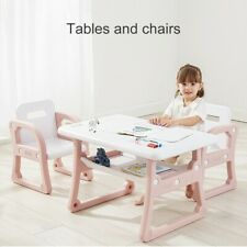 Kids Table and 2 Chairs Play Set Toddler Child Toy Activity Table w/Storage Rack
