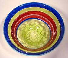 "10"" HAND BLOWN GLASS ART BOWL, DIRWOOD GLASS, INCALMO DESIGN, PINK BLUE YELLOW"