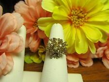 Unique 18k Gold Plated Womens CZ Cluster Fashion Cocktail Ring Sz 8