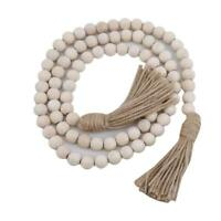 Wooden Beads String Garland with Tassels for Wedding Birthday Party Decoration W