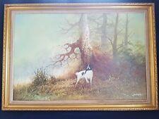 Pintura al óleo sobre lienzo Enmarcado Grande Por L. eiford representando un perro caza pistola