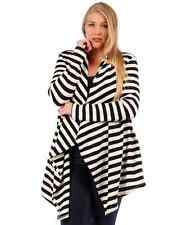NEW WOMANS PLUS SIZE CLOTHING BLACK & IVORY LONG STRIPED OPEN CARDIGAN 6X