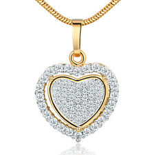 Love Heart Pave Crystal Zirconia Yellow Gold Filled Women Pendant Necklace  Chain 6dd0775af26e