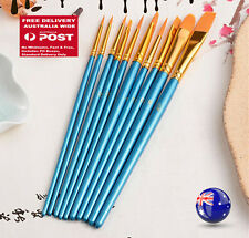10PC Blue Oil Painting Brushes Set Acrylic Watercolor Artist Face Paint Craft