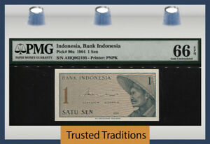 TT PK 90a 1964 INDONESIA BANK INDONESIA 1 SEN PMG 66 EPQ GEM UNCIRCULATED