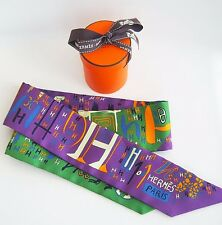 NEW Authentic Hermes Twilly 1001H Silk Horse Scarf Green Purple 1001 H Blue