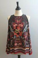 5 Twelve Knit Top Sz MEDIUM Floral Paisley Print Cold Shoulder Bell Sleeves