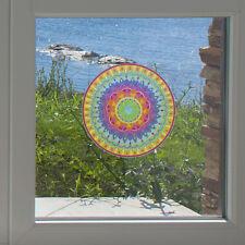 "CLR:WND Mandala Rainbow Heart - See-Through Vinyl Window Decal ©YYDC(MD 5""dia.)"