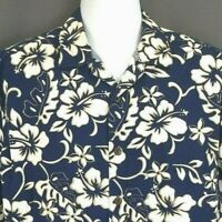 Hilo Hattie Men's Hawaiian Shirt Sz L Blue Floral Hibiscus Matching Pocket Aloha