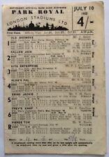 1950 PARK ROYAL GREYHOUND RACING RACECARD - 10/7/50