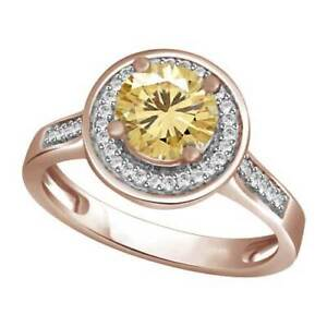 1/2Ct Round Cut Yellow Simulated Diamond 18K Gold Over Halo Engagement Ring