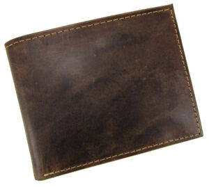 New Paul & Taylor Men's Top Grain Distressed Brown Leather Bifold Wallet