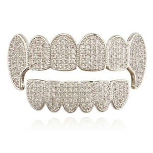 Fit Hip Hop Grills Fangs Top Bottom Set 5A+ CZ Silver Plated Bling Teeth Grillz