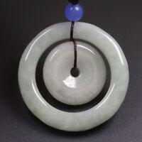 Certified Grade A 100% Natural Green Jadeite Jade Pendant Circle Amulet 母子平安扣