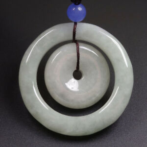Certified Grade A 100% Natural Green Jade Jadeite Pendant Circle Amulet 母子平安扣