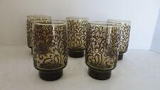VTG 5 Libbey Smoke Brown Beverage Drinking Glasses with Swirls