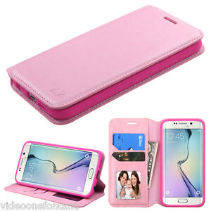 PINK Leather Flip For Samsung GALAXY S6 Edge G925 Wallet Pouch Case Cover Stand