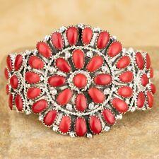 "Navajo Native American Sterling Silver Coral Cluster Bracelet Size 6"" Signed JW"