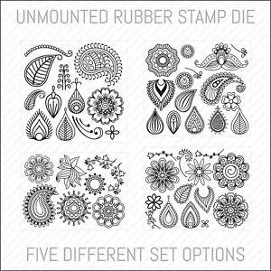 Henna Mehndi Floral Unmounted Rubber Stamp Die - Card Making - Scrapbooking