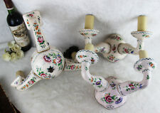 French Faience de Strasbourg Chandelier pendant with pair sconces wall lights
