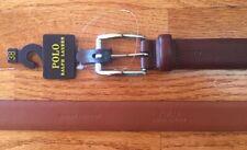 POLO RALPH LAUREN Mens Leather Belt Brown 38 New