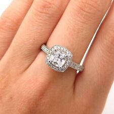 925 Sterling Silver Swarovski Crystal Square Design Engagement Ring Size 8