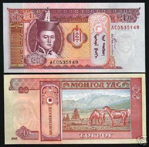 MONGOLIA 20 TUGRIK P-63 2009 x 100 Pcs Lot BUNDLE HORSE UNC NOTE MONGOLIAN MONEY
