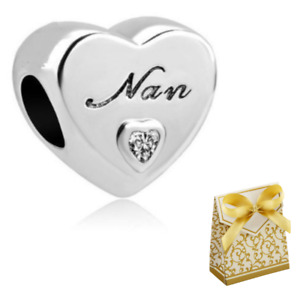 Silver Grandma Nan Love Heart Charm fits UK/European Charm Bracelets + Gift Box