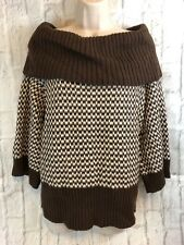 Eight Eight Eight Brown White Off The Shoulder Cowl Neck Sweater Size Large