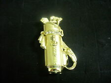 Golf Bag with Clubs Brooch Pin Vintage Ajc Goldtone Metal & Clear Crystal