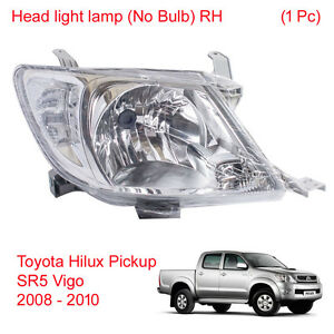 Head light lamp (No Bulb) RH 1 Pc For Toyota Hilux Pickup Vigo SR5 2008 - 2010