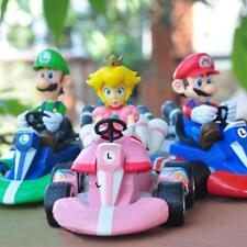 6 Set Super Mario Kart Luigi PVC 4 Wheels Pull Back Racers Mini Car Toys figure