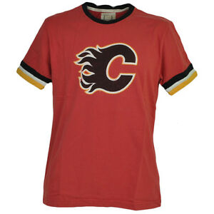 NHL Calgary Flames Red Crew Neck Tshirt Tee Mens Adult Cotton Short Sleeve Sport
