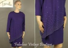 Vtg Travilla Purple Wool Mod Shift Cocktail Party Dress Rhinestone Embellished M