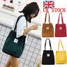UK Women Durable Canvas Tote Bag Large Capacity Handbag Casual Shoulder Shopper