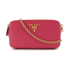 PRADA Saffiano Chain Long Wallet Bag Pink Leather Purse 90102426