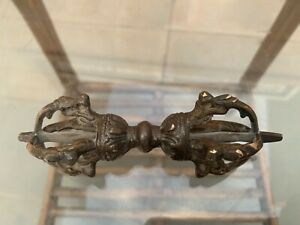 Antique Old Tibetan Temple Brass Cinnabar Dorje Vajra Phurba Exorcism Talisman