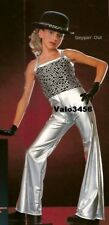 Steppin Out Dance Costume Silver Metallic Bell Bottom Pants with Top Adult Large