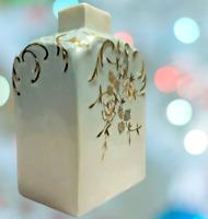 """Vintage /Antique Asian Bud Vase Porcelain Gold Blue White Floral 5"""""""