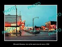 OLD LARGE HISTORIC PHOTO OF MISSOULA MONTANA, THE MAIN STREET & STORES c1960
