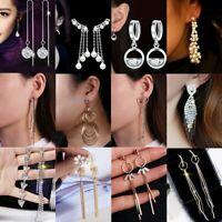 Women Elegant Crystal Rhinestone Long Tassels Drop Dangle Hook Earrings Summer