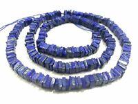 "1 Strand Lapis Lazuli Smooth Square Heshi Cut 6-7mm Gemstone Loose Beads 8""inch"